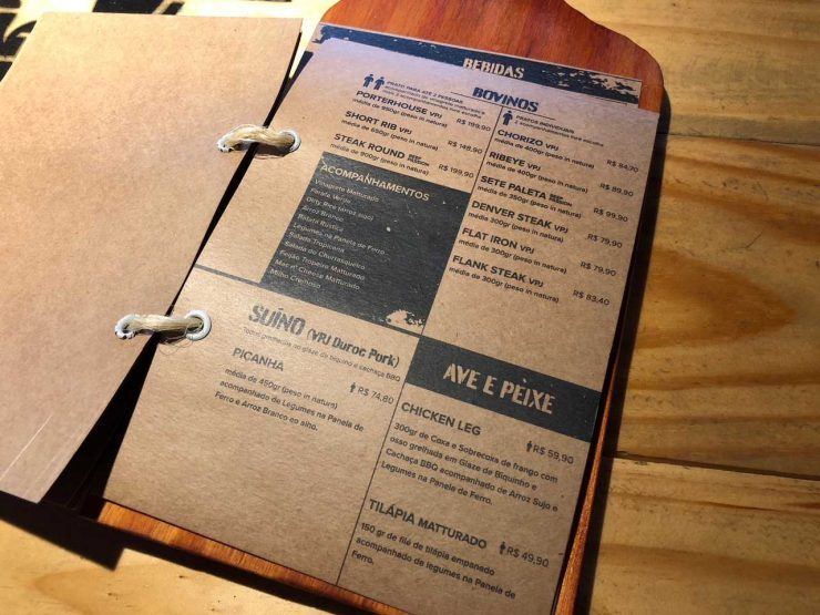 Cardápio da steakhouse premium Matturado BBQ | Foto: Luísa Gomes/Mais Cinco
