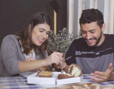 Luísa Gomes e Murillo Soares experimentam ovos de Páscoa recheados | Foto: Reprodução/Mais Cinco