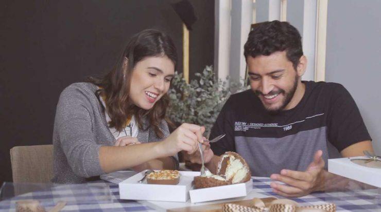 Luísa Gomes e Murillo Soares experimentam ovos de Páscoa recheados   Foto: Reprodução/Mais Cinco