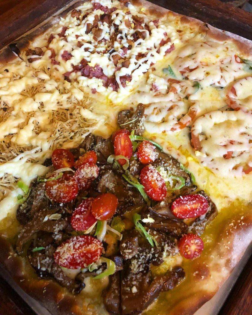 Pizza quadrada da Pirineus Pizzaria | Foto: Divulgação