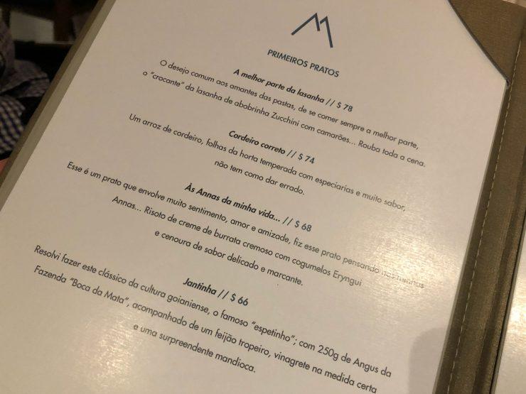 Cardápio do restaurante Magna em Goiânia | Foto: Luísa Gomes/Mais Cinco