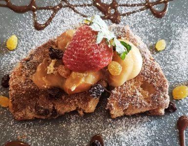 Rabanada de panetone ou chocotone do restaurante Moony em Goiânia | Foto: Juliana Carnevalli